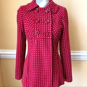 😍Monsoon😍Red with Polka Dot Wool Blend Coat